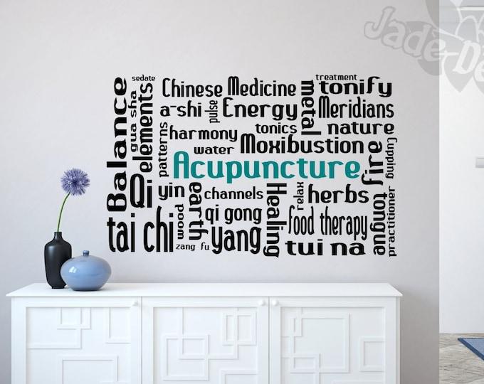 Acupuncture decal // acupuncturist gift, acupuncture wall decal, acupuncturist decor