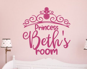 Girls name wall decal, princess tiara wall art, Custom girls room wall decor, personalized princess decal