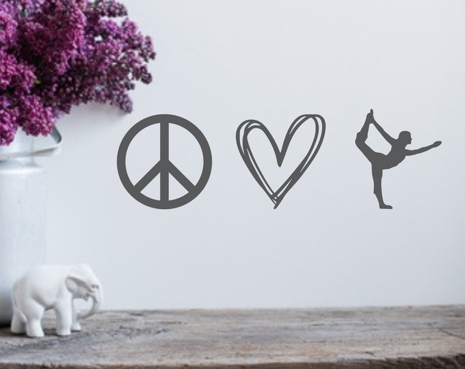 Peace love yoga decal, bumper sticker, laptop decal, yoga wall decal