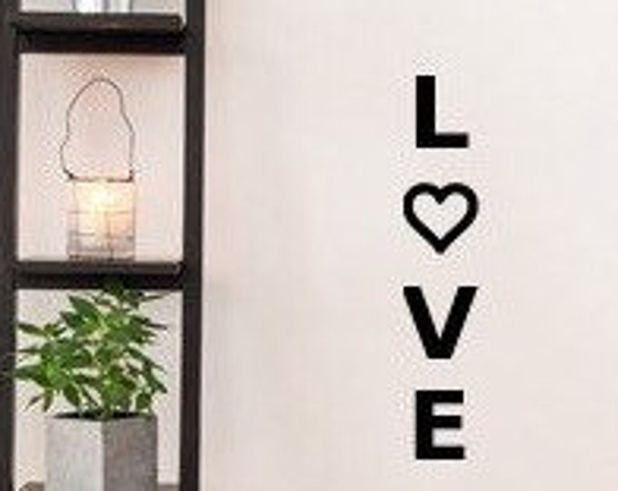 vertical love decal// family room decal // love wall decal