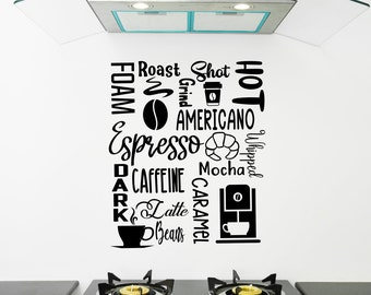 Coffee decal, Espresso subway art, coffee wall decal, kitchen wall decal, coffee shop wall art, coffee shop decor