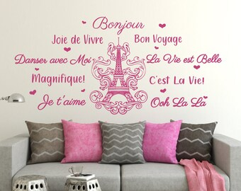 Eiffel tower wall decal, Bonjour wall decal, paris wall art, paris wall decor, eiffel tower decal, french sayings, paris room decor,