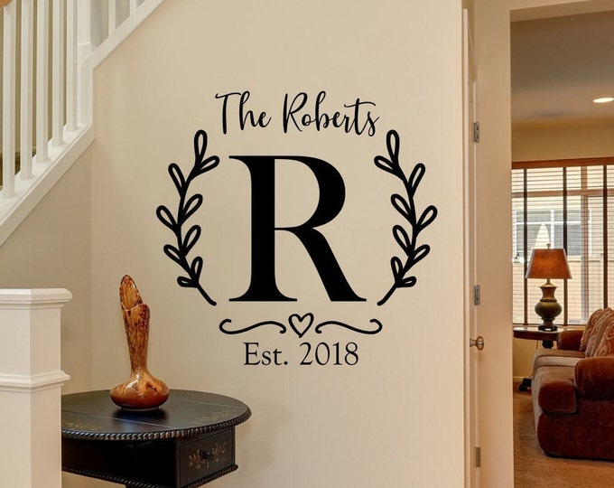 Custom last name sign, family name decal, monogram established date wall decal entryway decor living room family room wall art laurel wreath