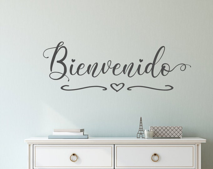 Bienvenido welcome entryway front door decal wall decal, welcome in spanish, spanish door sign