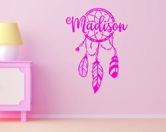 Dream catcher decor, Girls name decal, dreamcatcher decal, girls wall decor, name wall decal, teen girls room