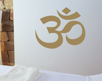 Om symbol wall decal, Aum symbol, yoga wall art, laptop decal