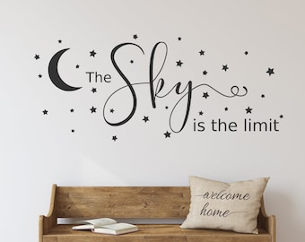 The sky is the limit decal, inspirational wall art, moon and stars decal, wall decal, motivational decor, night sky, vinyl decal