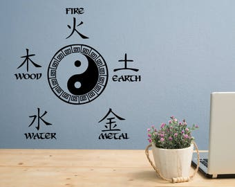 Five Elements decal with yin yang symbol// Chinese medicine
