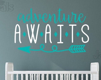 Adventure awaits nursery decal, adventure nursery, arrow nursery decor, nursery wall decal, greatest adventure