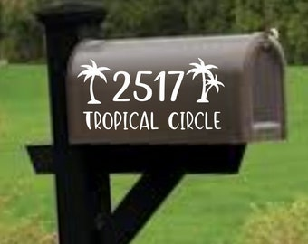 Palm Tree Mailbox decal, address decal, mailbox numbers, mailbox stickers, mailbox lettering, mailbox design