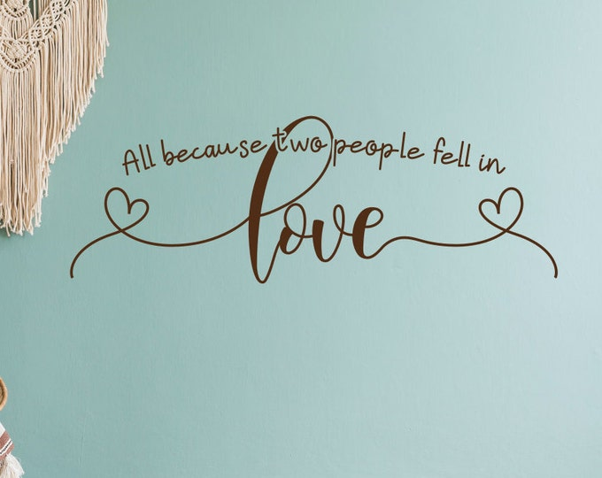 Love wall decal, Love wall art, i love you, love sign, love never fails, love you more, Love decal, All because two people fell in love