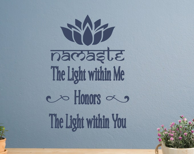 Namaste wall decal, namaste decal, yoga wall decor, yoga wall art // the light within me honors the light within you