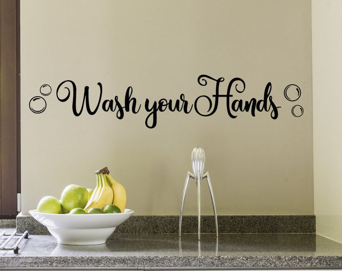wash your hands, mirror decal, bathroom decal, wash your hands sign, wall decal, vinyl decal, bathroom wall decal