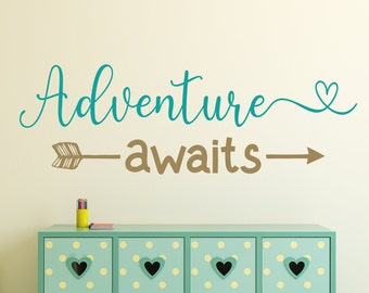 Adventure awaits decal, nursery adventure decal, nursery wall decal, baby room decal, wall decal nursery, adventure nursery
