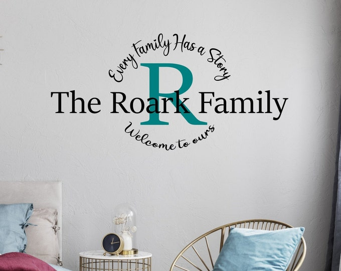 Last name wall decal, family name decal, personalized wall decor, monogram decal, every family has a story, family wall decal