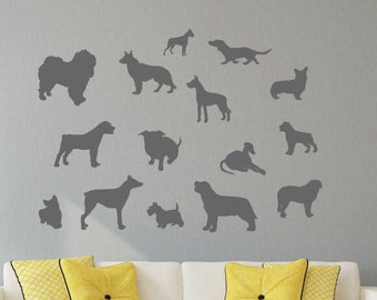 Dog silhouette decals// dog wall decals, veterinarian decal