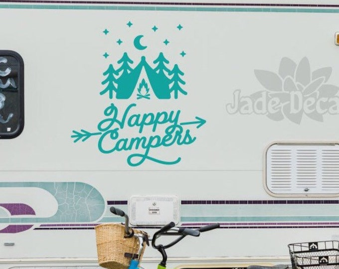 Happy Campers rv decal // rv gifts for motor home