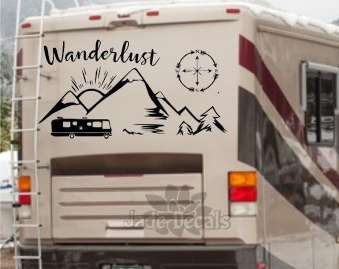 Wanderlust rv decal, camper decal, happy camper, rv vinyl decal, rv travel decal
