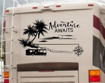 Adventure Awaits rv camper decal, fifth wheel decal, vinyl rv decal, motor home decal, beach rv decor, ocean palm tree