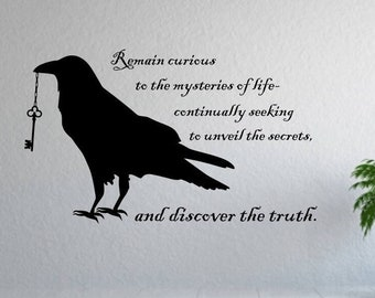 Black Raven wall decor, wall decal // gift for raven lover