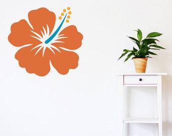 Hawaiian flower decal, hibiscus wall decal, colorful flower decor, flower wall decal