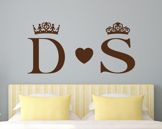 King and Queen wall decals, bedroom wall art, his and hers couples wall art, monogram decal, name wall decal, king queen decor, wall decor,