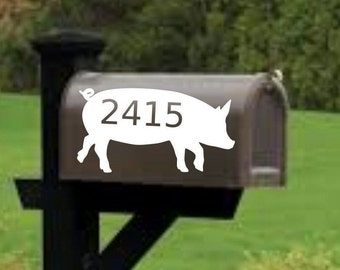 Pig Mailbox decal, address decal, mailbox numbers, mailbox stickers, mailbox lettering, farmhouse mailbox