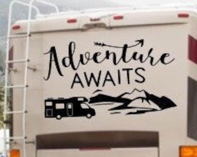 Adventure Awaits rv decal, Custom camper decal