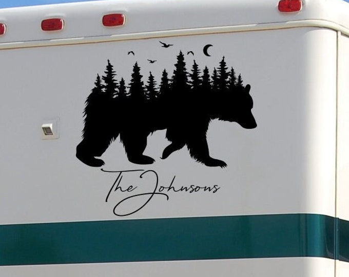 Bear Nature RV decal with last name, personalized decal, bear forest decal, camper decal, Adventure awaits, Wanderlust,