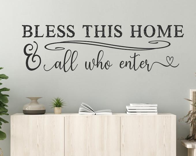 Bless this home wall decal, farmhouse decor, farmhouse wall decor, bless our home, farmhouse decal, wall decor, vinyl decal, Bless this nest