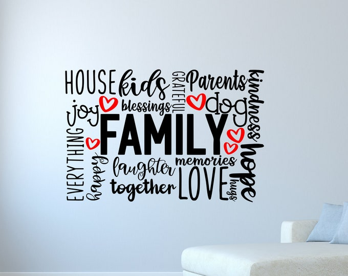 Family wall decal, family sign, family wall decor, family word cloud, family, wall art, vinyl wall decals,