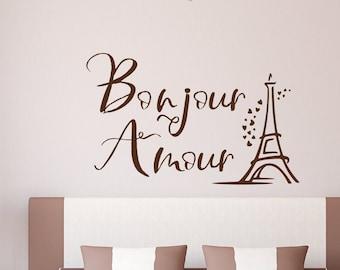 Paris wall decal, Bonjour amour hello love eiffel tower wall decal home decor paris wall art romantic bedroom decor