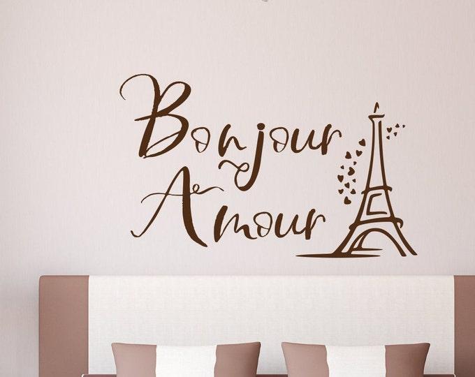 Bonjour amour Paris wall art vinyl decal // hello love eiffel tower wall decal home decor paris wall art romantic bedroom decor