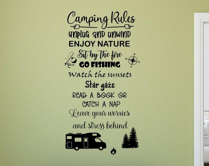 Camping rules rv camper decal, custom rv decal, custom camper decal, camping wall decal, camper wall art, rv vinyl decal, Camping wall art