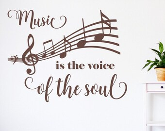 Music wall decal, musician decal, music decal, music wall decor, musician wall art, music notes decal // Music is the voice of the soul