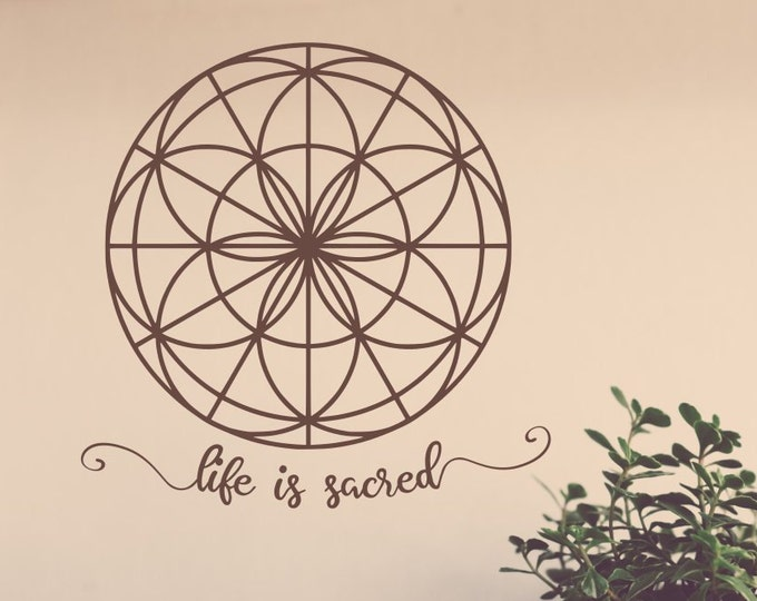 Seed of life wall decal, life is sacred decal, seed of life, mandala decal, sacred geometry, yoga wall decal, flower of life decal
