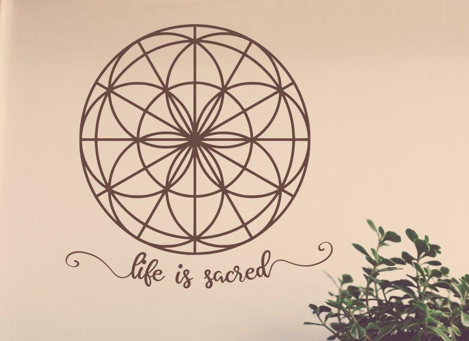 Seed of life decal, life is sacred decal, seed of life, mandala decal