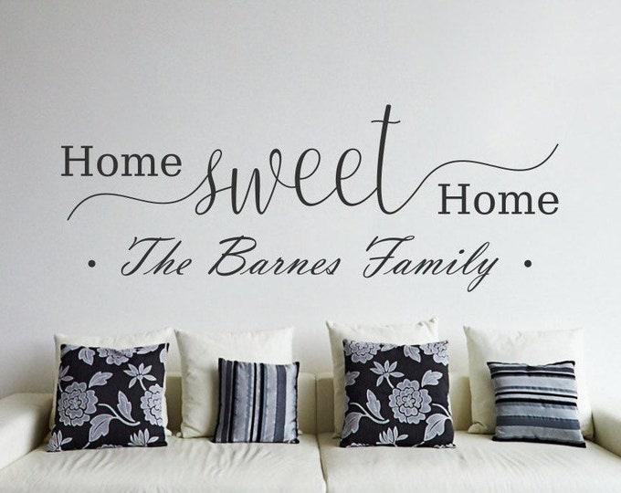 Home sweet home custom last name wall decal, home sweet home decal, home sweet home decor, last name wall decor,