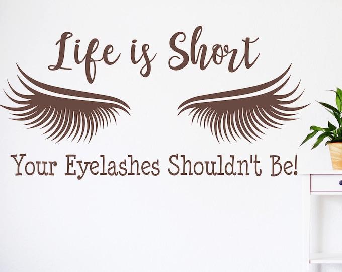 Eyelash extension decal, eyelash decor, eyelash art // Beauty salon decal, lashes decal