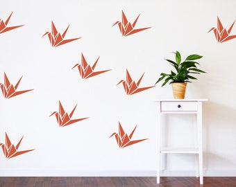 origami paper crane wall art decals, origami crane decor, origami wall decals