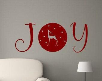 Christmas Joy wall decal  // reindeer wall art
