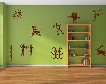 petroglyph decals, petroglyph wall art, petroglyph art, rock art symbol home decor