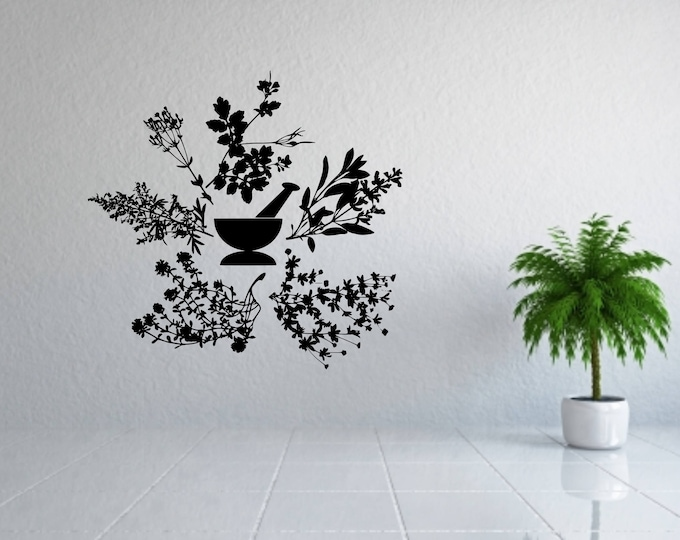 Herb wall decal, mortar and pestle, Apothecary wall decal, herbs decal, herb wall art