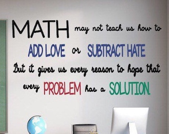Math vinyl wall decals for classroom // add love, subtract hate