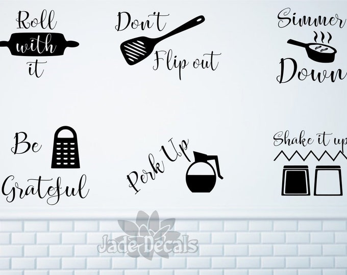Kitchen wall decals, kitchen utensil art- Roll with it, Don't flip out, Simmer down, Be grateful, Perk up, Shake it up