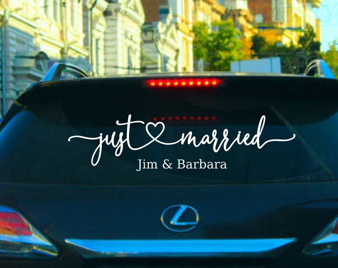 Just married back window decal wedding gift wall decal gift for newlyweds