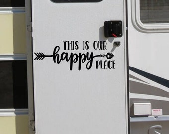 Happy place rv decal decor for camper or motorhome or travel trailer. RV door decal // This is our happy place
