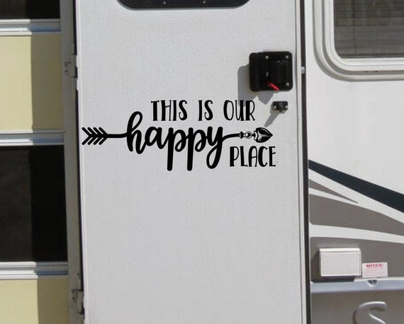 Happy place rv decal decor for camper or motorhome or travel