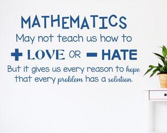 Math wall decal, mathematics decal, math classroom decor,  add love, subtract hate