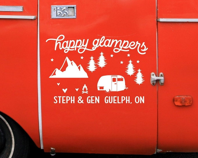 Personalized rv decal, custom rv decal, happy glampers, happy campers, camper decor, rv decor with names, city and state.